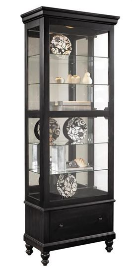 Picture of Pulaski - Black Curio with turned feet