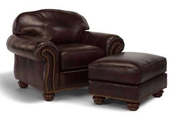 Bexley Leather Chair & Ottoman w/Nails (M8649-10-08)