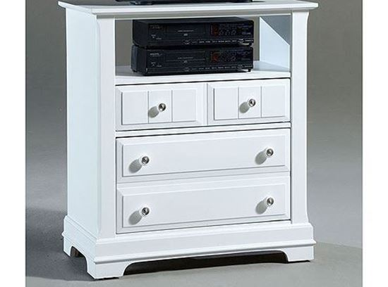 Cottage Media Cabinet (BB24-114) in a Snow White finish