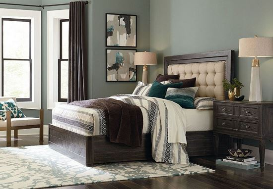 Woodridge Bedroom collection with Upholstered bed in a Cavern Black finish