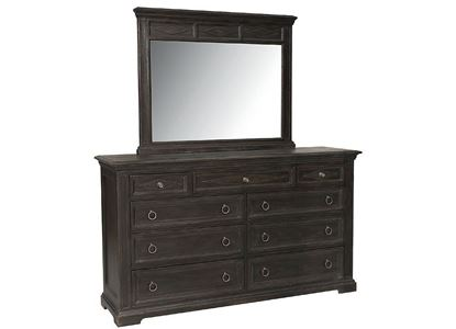 Woodridge Nine Drawer Dresser with Mirror in a Cavern Black finish(2497-0237)