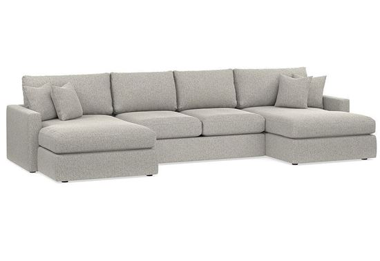 Allure Double Chaise Sectional (2611-UCSECT) with a smoke fabric