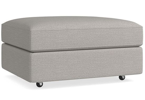 Bassett Custom Storage Ottoman D000-S2 in a Casual Boucle Texture fabric