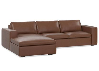 MODERN - Melina Leather Left Chaise Sectional (3965-LCSECTB) in a Melina Bark leather