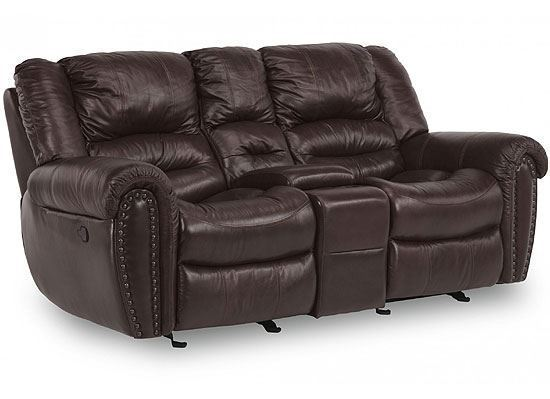 Town Leather Loveseat with Console & Power Headrest (1010-64PH)
