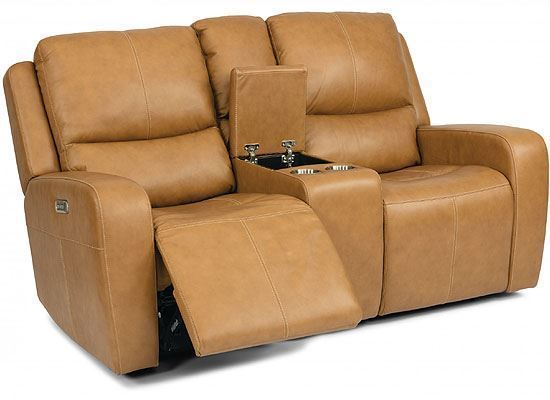 Aiden Reclining Leather Loveseat with Console & Power Headrest (1039-64PH)