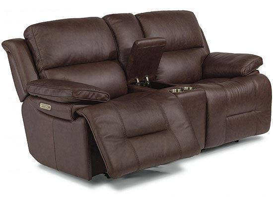 Apollo Reclining Leather Loveseat with Console & Power Headrest (1849-64PH)