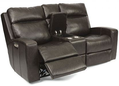 Cody Reclining Leather Loveseat with Console (1820-64PH)