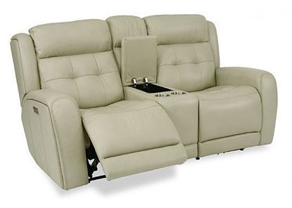 Grant Reclining Leather Loveseat with Console (1480-64PH)