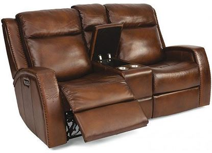 Mustang Reclining Loveseat with Console (1873-64PH) and Power Headrest