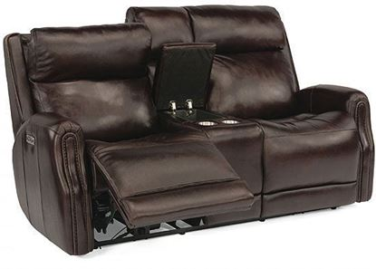 Stanley Reclining Leather Loveseat with Console (1897-64PH)