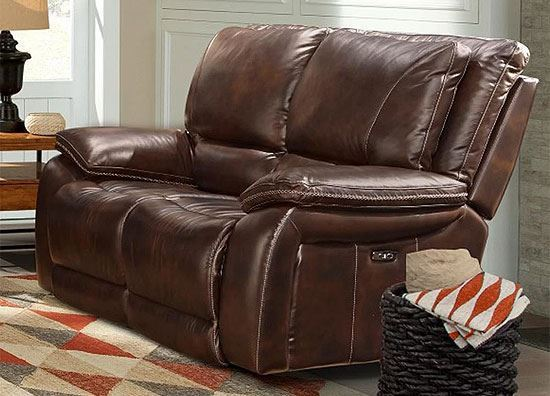 Vail Burnt Sienna Leather Loveseat by parker House furniture