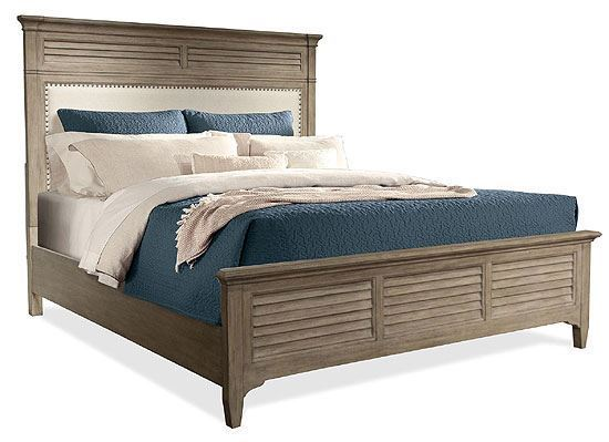 Myra Upholstered Bed with Natural finish by Riverside furniture