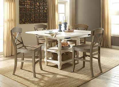 Regan Counter Dining Collection with Weathered Driftwood Chairs by Riverside furniture