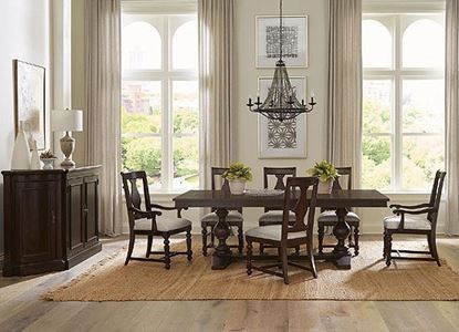 Rosemoor Dining Collection with trestle table by Riverside furniture