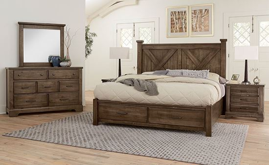 Cool Rustic Bedroom Collection with Xbed in a Mink finish