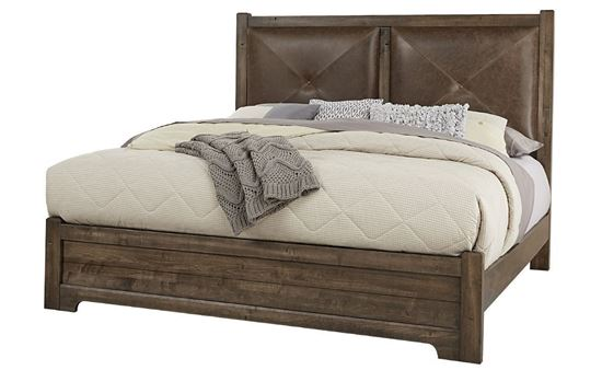Cool Rustic Leather Bed (20-170) in a Mink finish