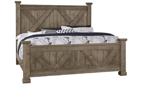 Cool Rustic X Bed (15-172) in a Stone Grey finish