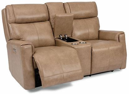 Holton Power Reclining Leather Loveseat with Console and Power Headrests 1836-64PH from Flexsteel furniture