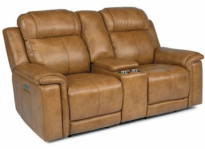 Kingsley Power Reclining Loveseat with Console and Power Headrests and Lumbar 1128-64PH from Flexsteel furniture