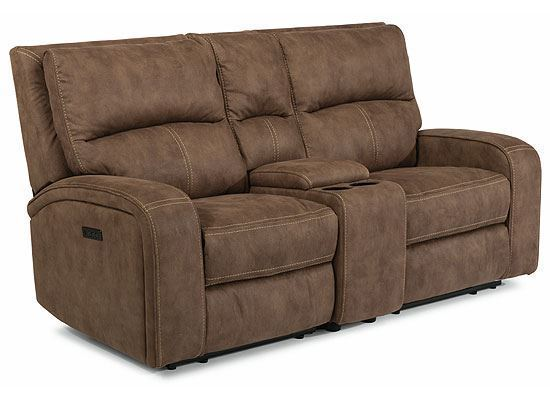 Nirvana Power Reclining Loveseat with Console and Power Headrests 1650-64PH from Flexsteel furniture